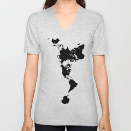 Dymaxion World Map (Fuller Projection Map) - Minimalist Black on White Unisex V-Neck