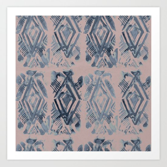 Simply Ikat Ink in Indigo Blue on Clay Pink Art Print