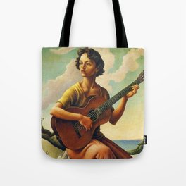 Classical Masterpiece 'Jesse with Guitar' by Thomas Hart Benton Tote Bag