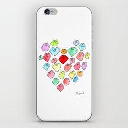 Love Unites heart pattern love illustration watercolor minimalist nursery wedding gift pastel colors iPhone Skin