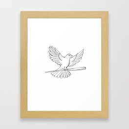 Pigeon or Dove Flying With Cane Drawing Framed Art Print