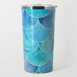 Turquoise Blue Watercolor Mermaid Travel Mug