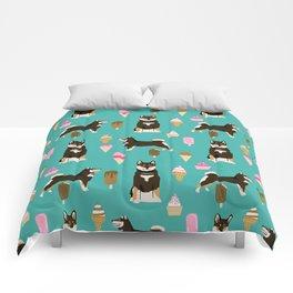 shiba inu black and tan ice cream dog breed pet pattern dog mom Comforters
