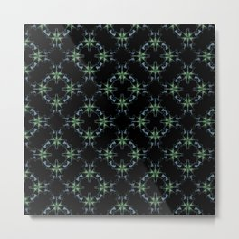 Green and Teal on Black Geometric  Tile Graphic Design Metal Print