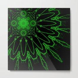 Green Electric Modern Flower Metal Print