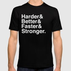 Harder, Better, Faster, Stronger. (Daft Punk) LARGE Black Mens Fitted Tee