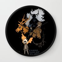 will graham Wall Clocks featuring #Someone Please Help Will Graham by Ravenno