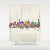 las vegas Shower Curtains featuring Las Vegas Nevada skyline by bri.buckley