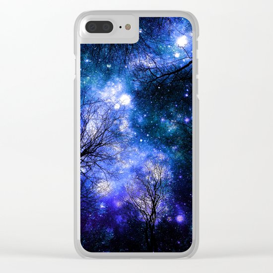 Black Trees Indigo Blue Teal Green Space Clear iPhone Case