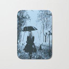 A walk in the rain Bath Mat