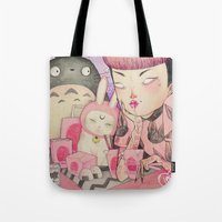 loll3 Tote Bags featuring Noodle Eater by lOll3