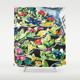 Watercolor Primroses on Wrinkled Paper Shower Curtain