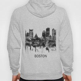 Boston Massachusetts Skyline BW Hoody