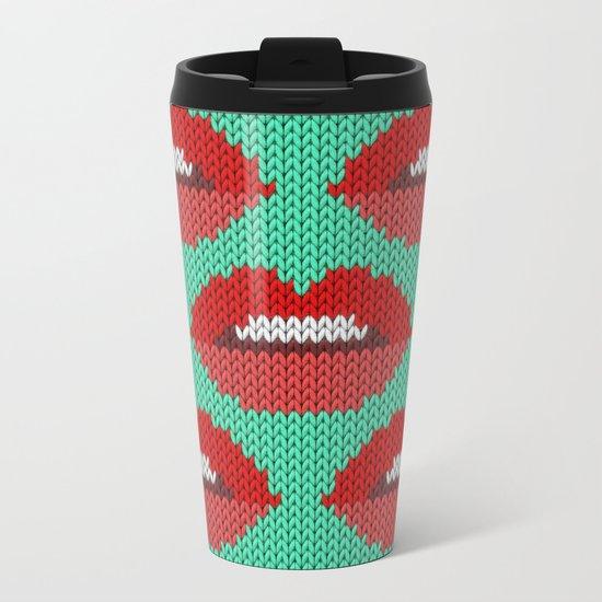 Lips pattern - sea Metal Travel Mug
