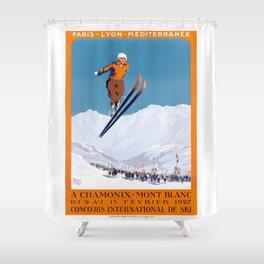 1927 Chamonix - Mont Blanc France Ski Championship Poster Shower Curtain