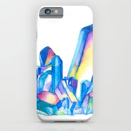 Rainbow Crystal Cluster - Watercolor iPhone Case