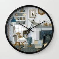 nursery Wall Clocks featuring Baby Animal Nursery by Yuliya