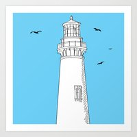 lighthouse Art Prints featuring Lighthouse by Janko Illustration