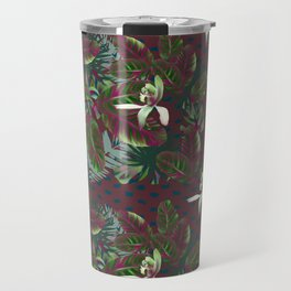 Bush Orchid Maroon Polka Pattern Travel Mug