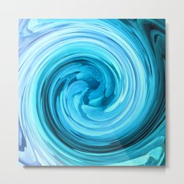 blue whirl abstract geometric digital art Metal Print