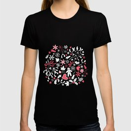 Mistletoe and Gingerbread Ditsy - Red, white and pink - Christmas pattern by Cecca Designs T-shirt