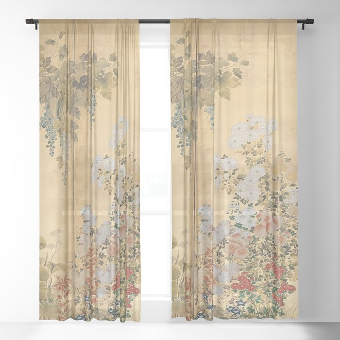 Japanese Edo Period Six-Panel Gold Leaf Screen - Spring and Autumn Flowers Sheer Curtain