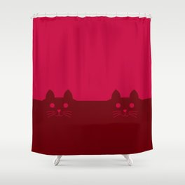 Meow Cat Red Pink Shower Curtain
