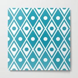 Harlequin Pattern Cerulean Blue Metal Print