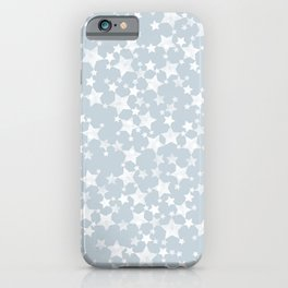 Block Printed Dusty Blue and White Stars Pattern iPhone Case
