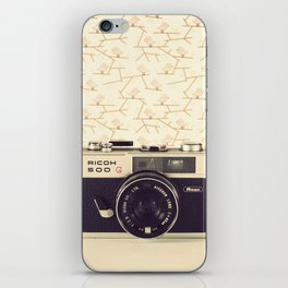Ricco Film Camera and Pink Background Birds (Vintage and Retro Still Life Photography)  iPhone Skin