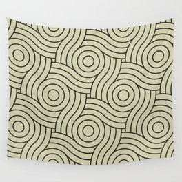 Circle Swirl Pattern Muted Green Inspired By Natural Olive Green - Martinique Dawn - Asian Silk Wall Tapestry