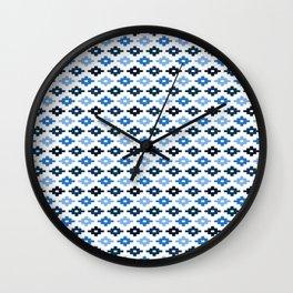 Geometric Flower Cross Stitch Appearance - Royal Blue On White Wall Clock