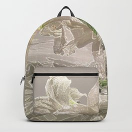 White Flowers Amaryllis Glowing Simple Modern Art Tan Background and Green Accents Backpack