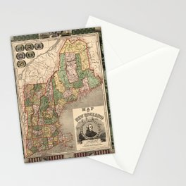 Map of New England 1847 Stationery Cards