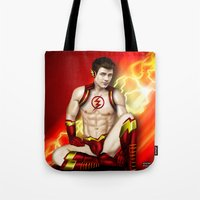 the flash Tote Bags featuring Flash by Steven H. Garcia
