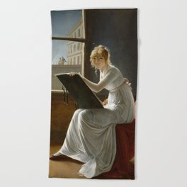 Young Woman Drawing - Marie Denise Villers Beach Towel