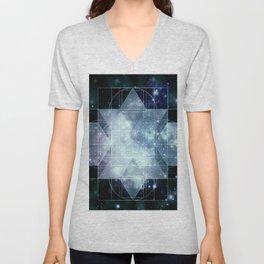 Galaxy Sacred Geometry Rhombic Hexecontahedron Blue Unisex V-Neck