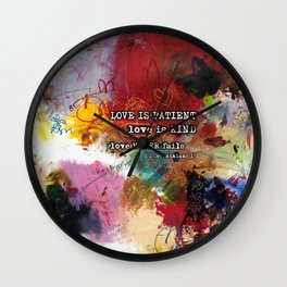 Love NEVER FAILS Scripture Bible Verse Abstract Art Painting by Michel Keck Wall Clock