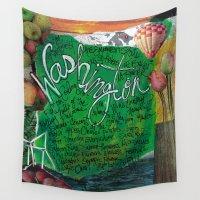 washington Wall Tapestries featuring Washington State by Mary Klump Studio