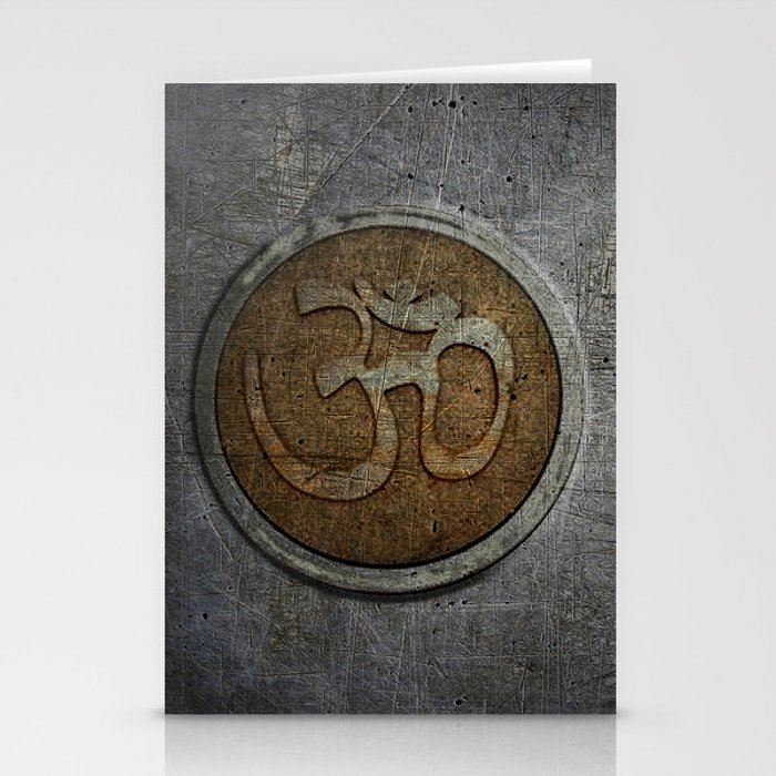 The sound of the Universe. Gold Ohm Sign On Stone Stationery Cards