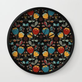 Vintage Ethno Flowers in red, blue, yellow on black Wall Clock
