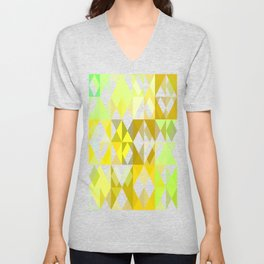 Pale Yellow Poinsettia 1 Abstract Triangles 1 Unisex V-Neck