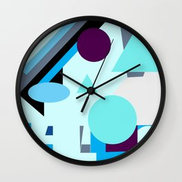 geometrical shapes in blue purple grey and black Wall Clock