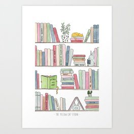 Bookshelf with cats - Watercolor illustration Art Print