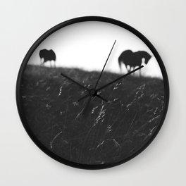 Horses on horizon Wall Clock