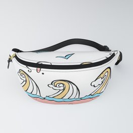 Doodle Waves Starfish - Peach Blue Yellow Fanny Pack