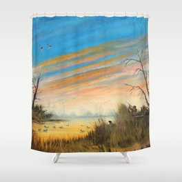 Evening Duck Hunters Shower Curtain