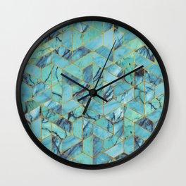 Blue Marble Hexagonal Pattern Wall Clock