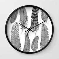 feathers Wall Clocks featuring Feathers by Holly Trill