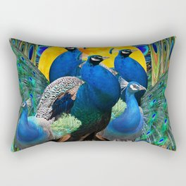STATELY BLUE PEACOCKS FLOCK Rectangular Pillow